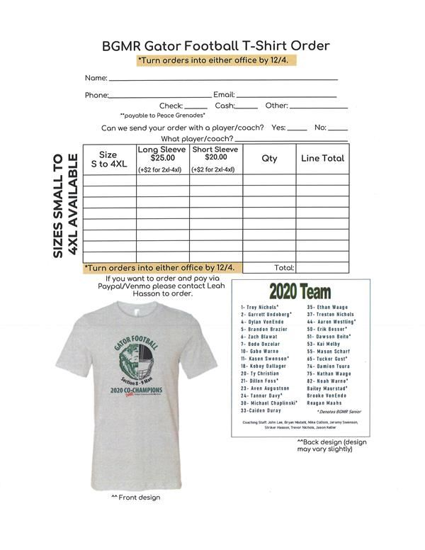 BGMR Football Section Co-Champ Shirt Order Form